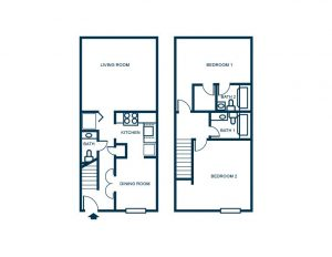 2 bedroom floor plan townhome