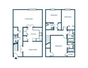 3 bedroom floor plan townhouse